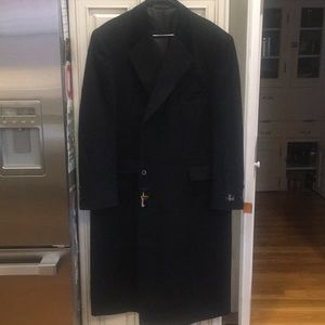 NWT Black Petrocelli Sz 48 Wool Blend Trench Coat